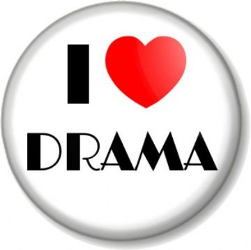 I Love / Heart DRAMA Pinback Button Badge The Performing Arts Stage School Acting Theatre TV Movies